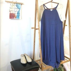 LULAROE Carly Midi Swing Dress SMALL Blue C11